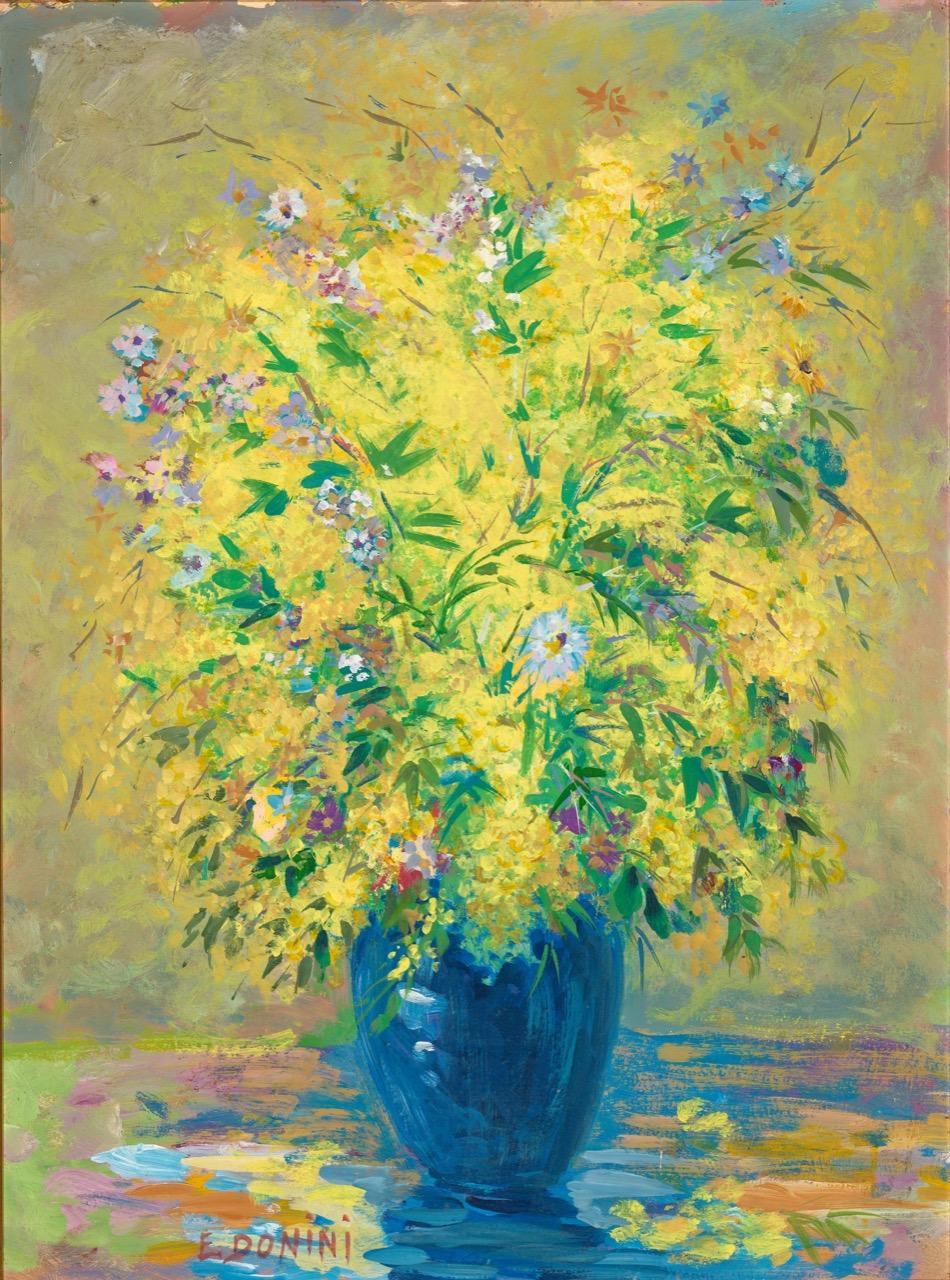 Mimosa con vaso blu, anni '80, olio su faesite, 80x50 cm