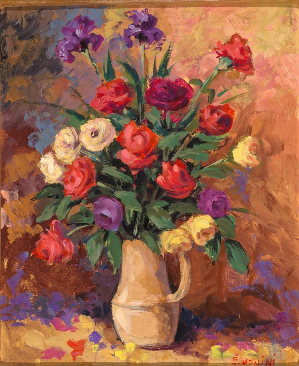 Rose, anni '80, olio su faesite, 60x50 cm