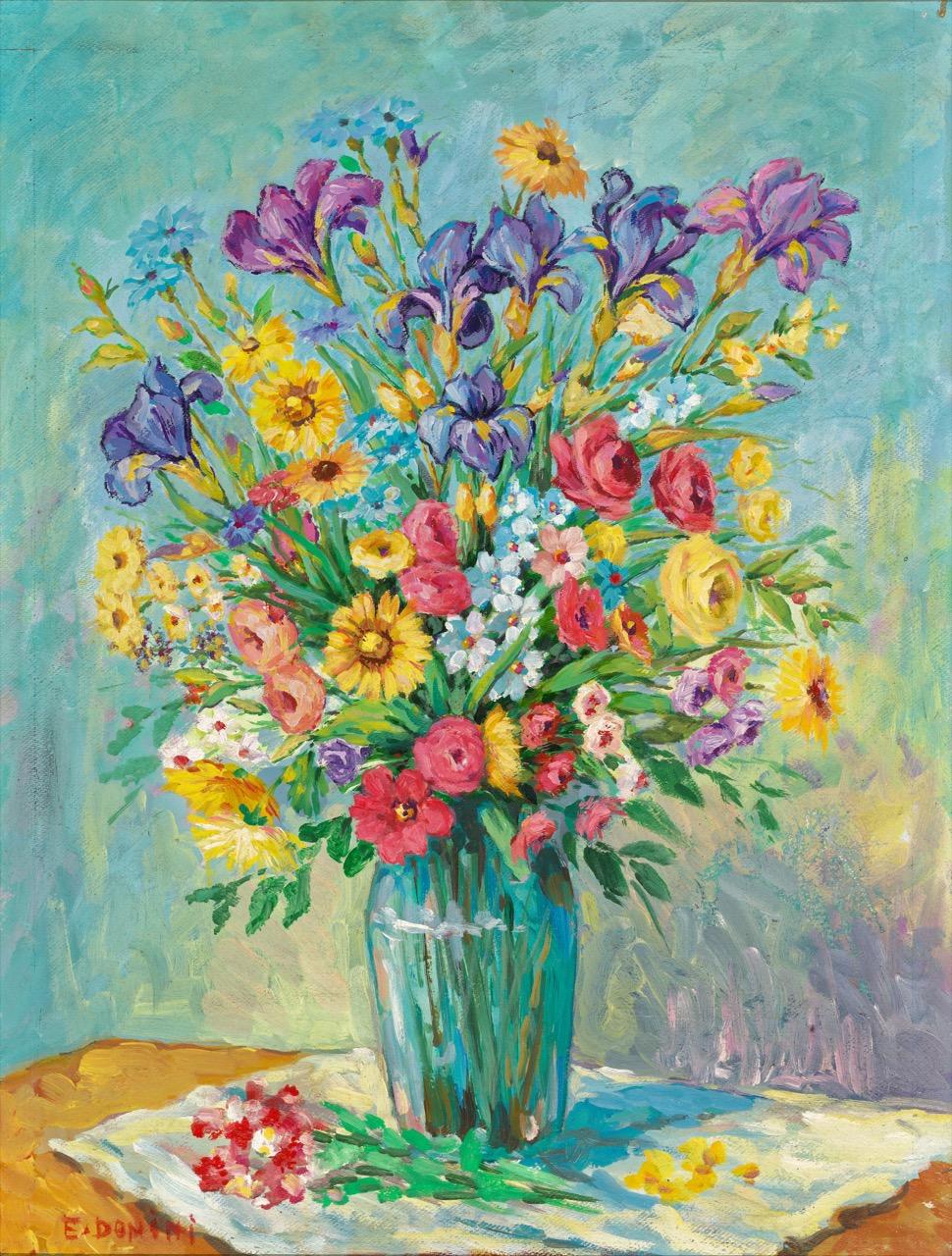 Vaso di fiori, anni '80, olio su faesite, 80x60 cm
