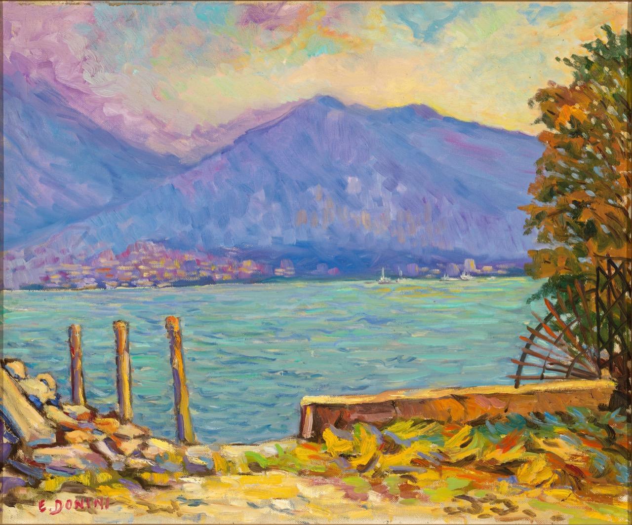 Lago d'Iseo, anni '80, olio su tela, 50x60 cm