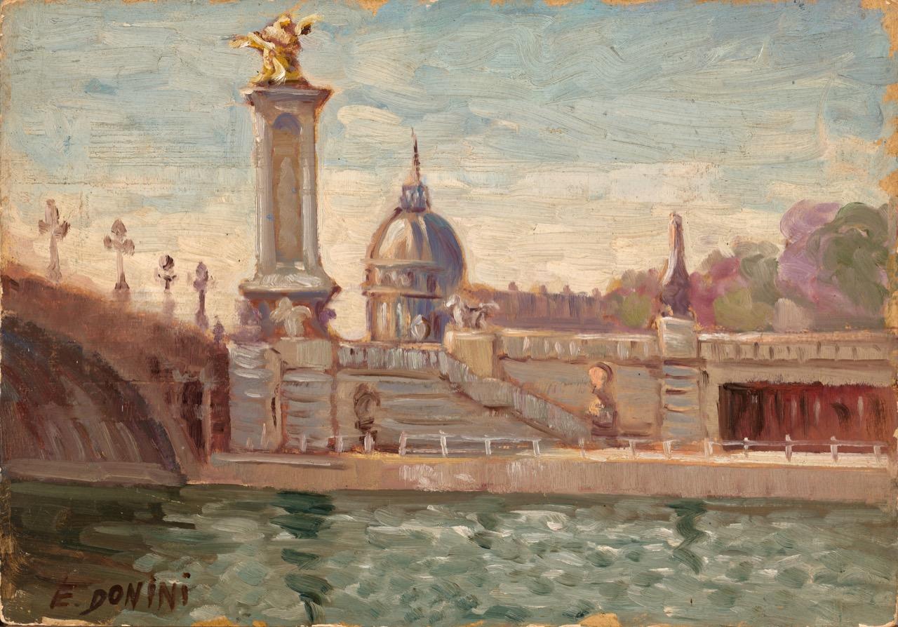 Pont Alexandre III, 1961, olio su faesite, 35x50 cm