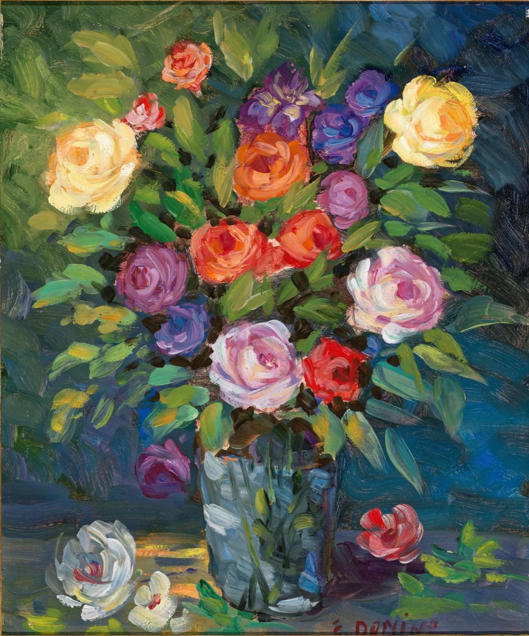 Floreale, anni '80, olio su faesite, 54x45 cm