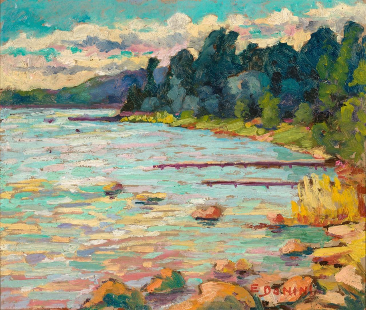 Lago d'Iseo, anni '80, olio su faesite, 33x40 cm