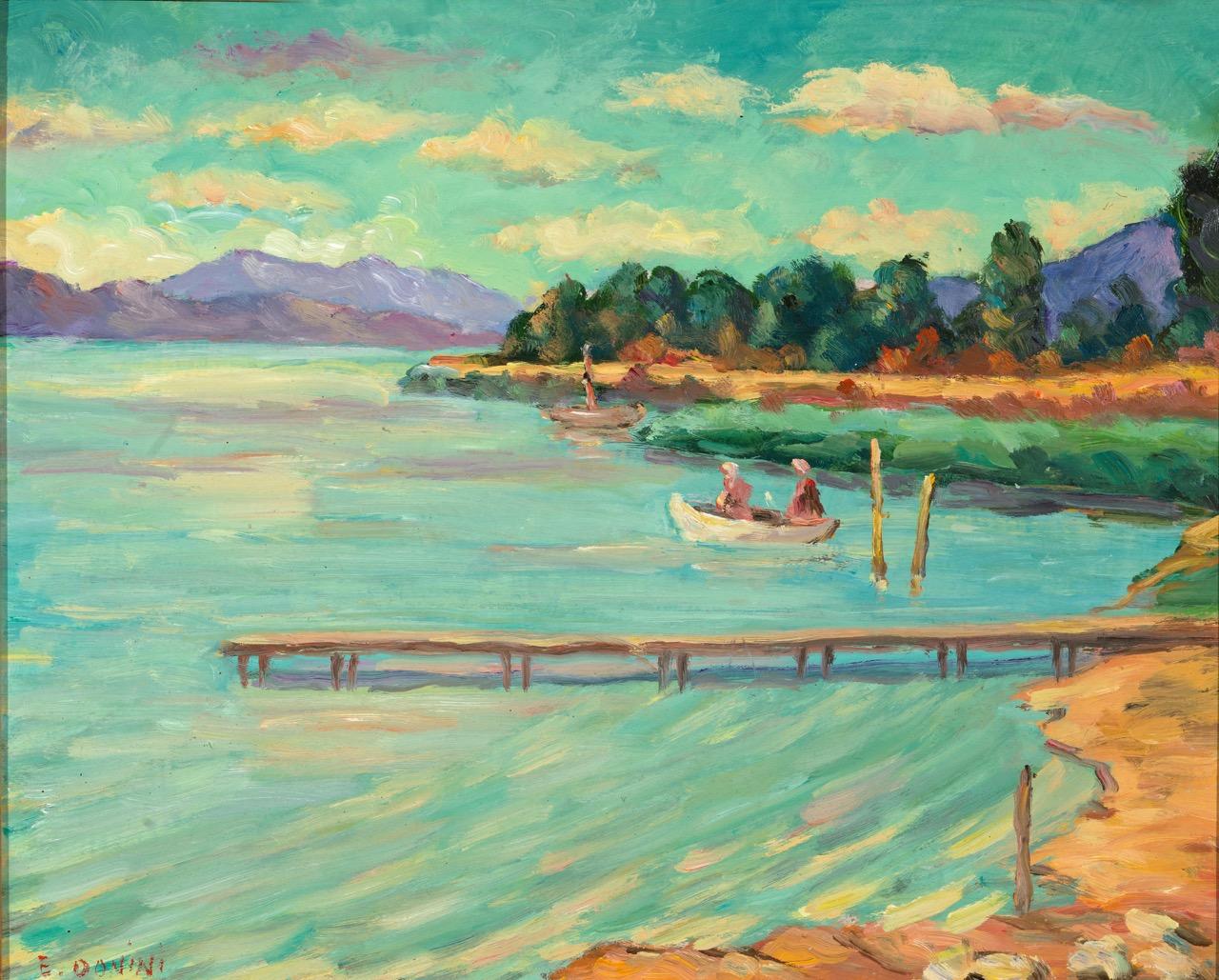 Lago d'Iseo. Il pontile, anni '80, olio su faesite, 40x50 cm