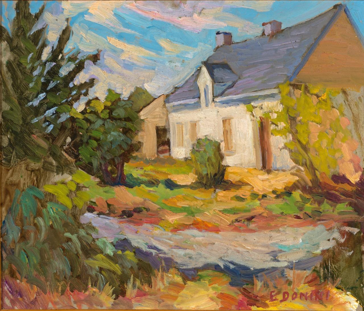 Bretagna. Casa di Jean-Marie, anni '80, olio su faesite, 40x34 cm