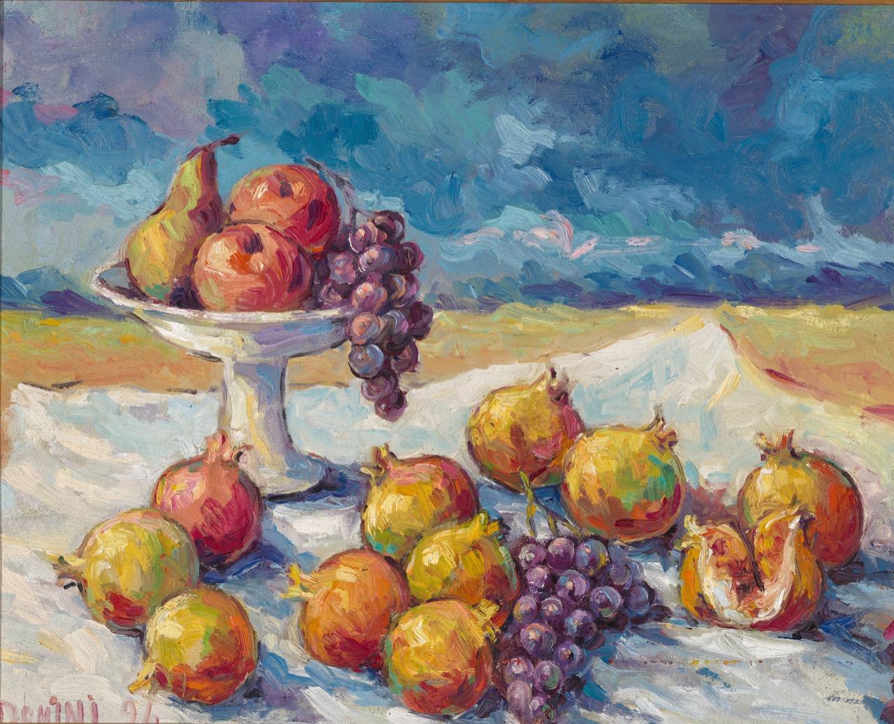 Fruttiera con melagrana, 1994, olio su faesite, 60x68 cm