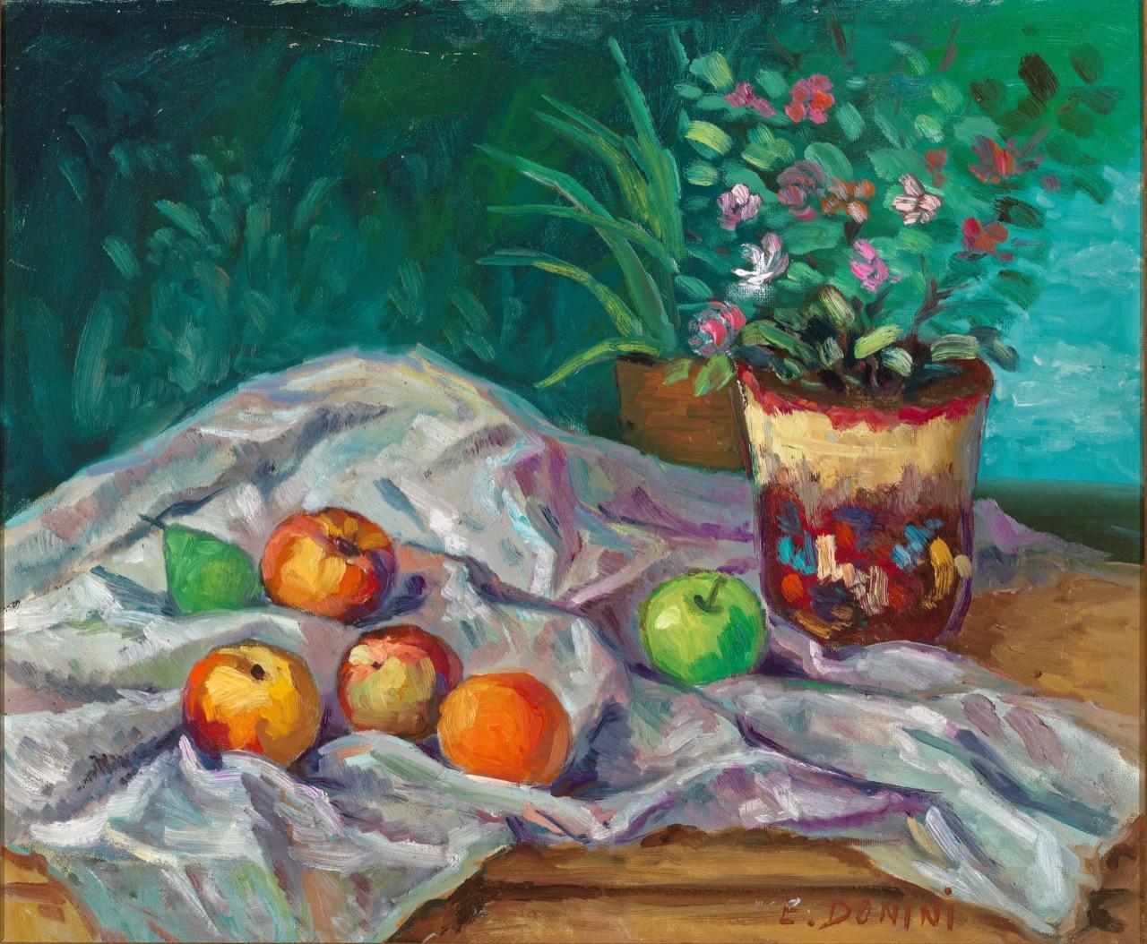 Natura morta con vaso decorato, anni '80, olio su faesite, 50x60 cm