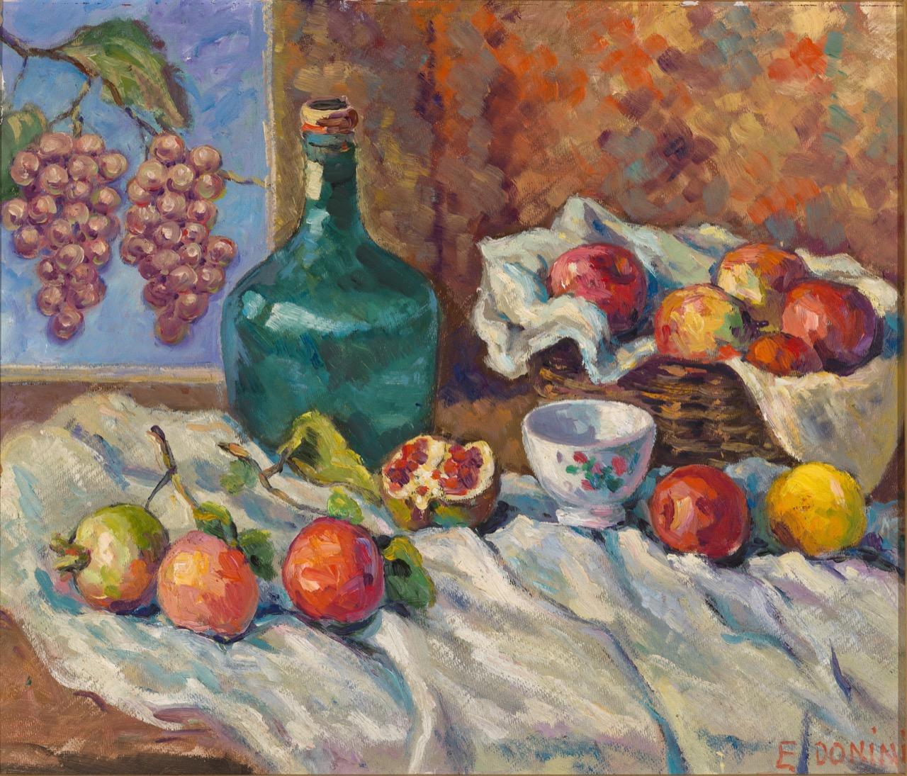 Natura morta, cesto con mele, anni '80, olio su faesite, 57x64 cm