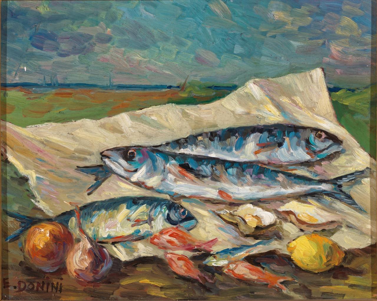 Sarde, anni '80, olio su faesite, 40x50 cm