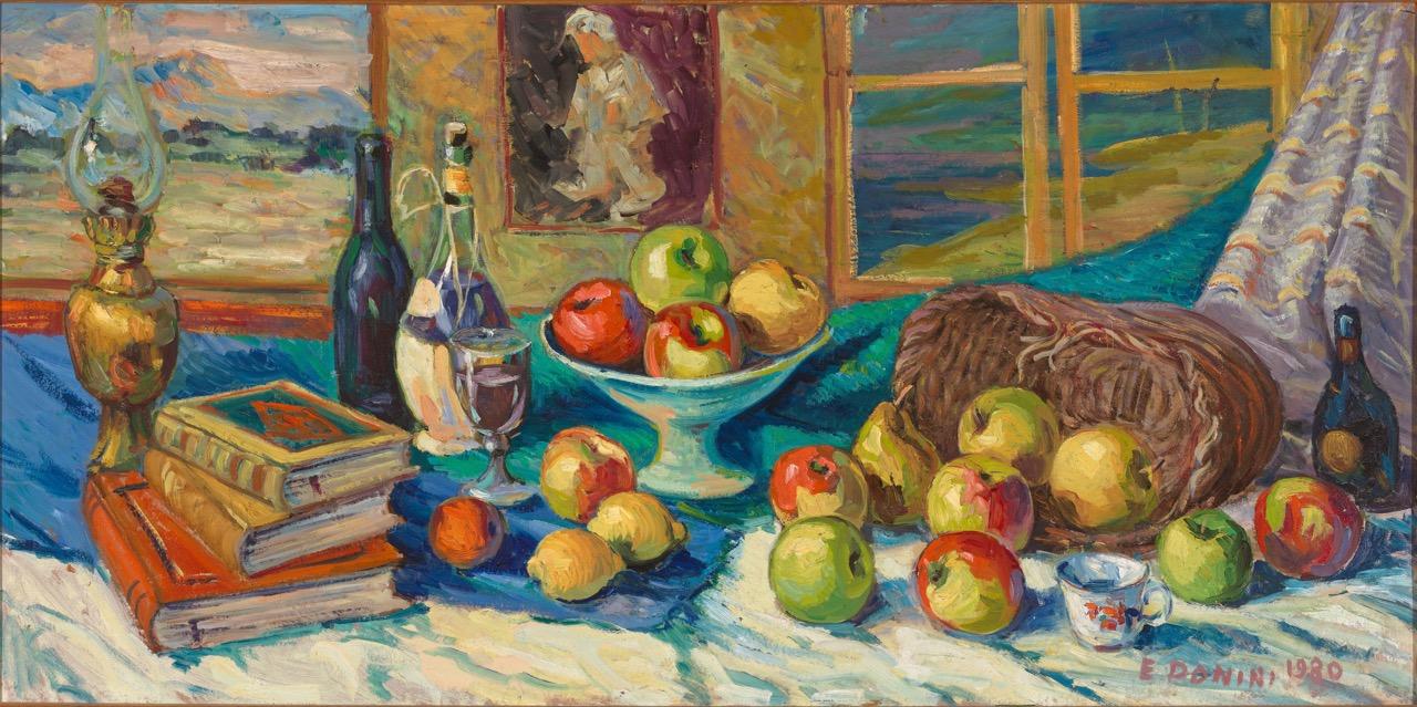Libri, frutta e lucerna, anni '80, olio su tela, 60x120 cm