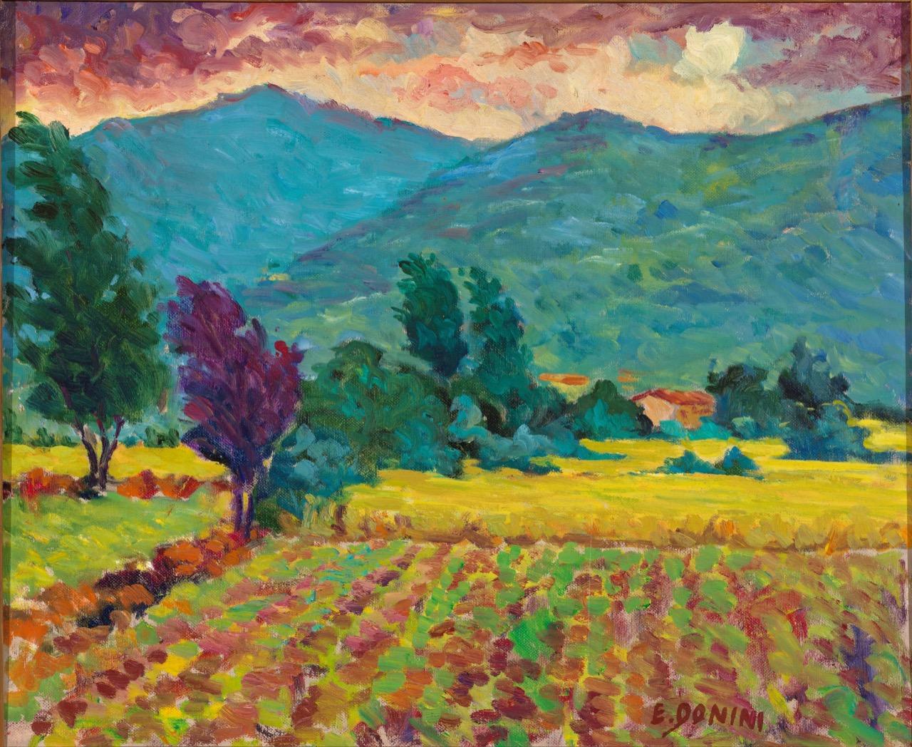 Campagna periferia di Brescia zona Poliambulanza, anni 80, olio su tela, 50x60 cm