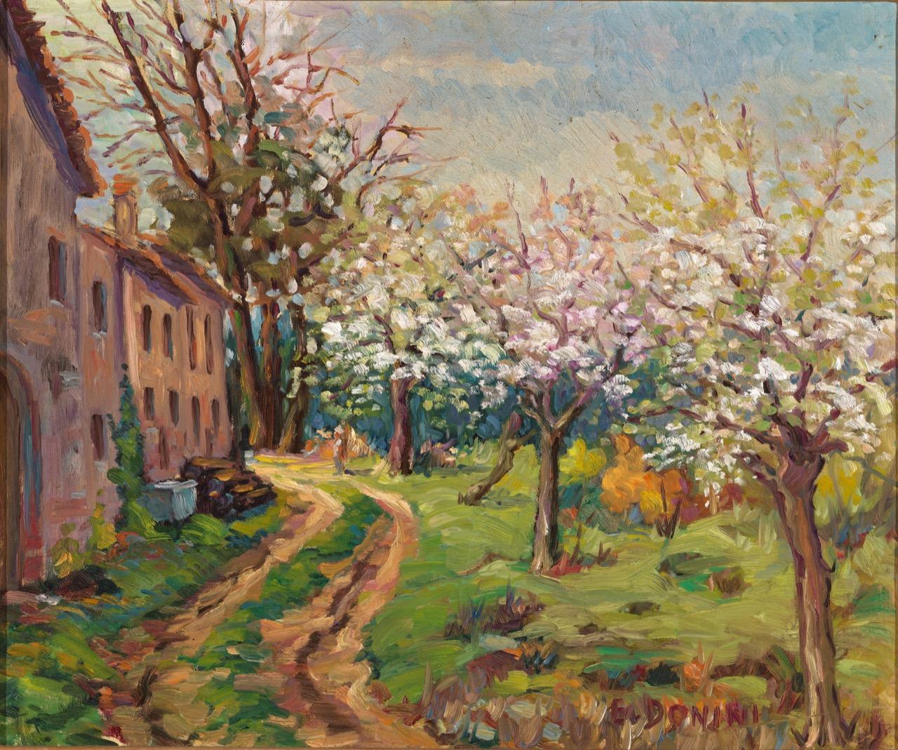 Primavera in cascina in via Flero, anni '80, olio su tela, 50x60 cm