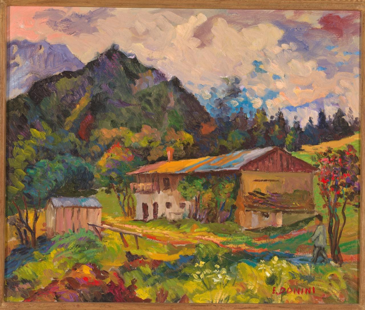Baita vicino a Bagolino (Regalo per l'anniversario dei 69 anni della moglie), anni '80, olio su tela, 50x60 cm