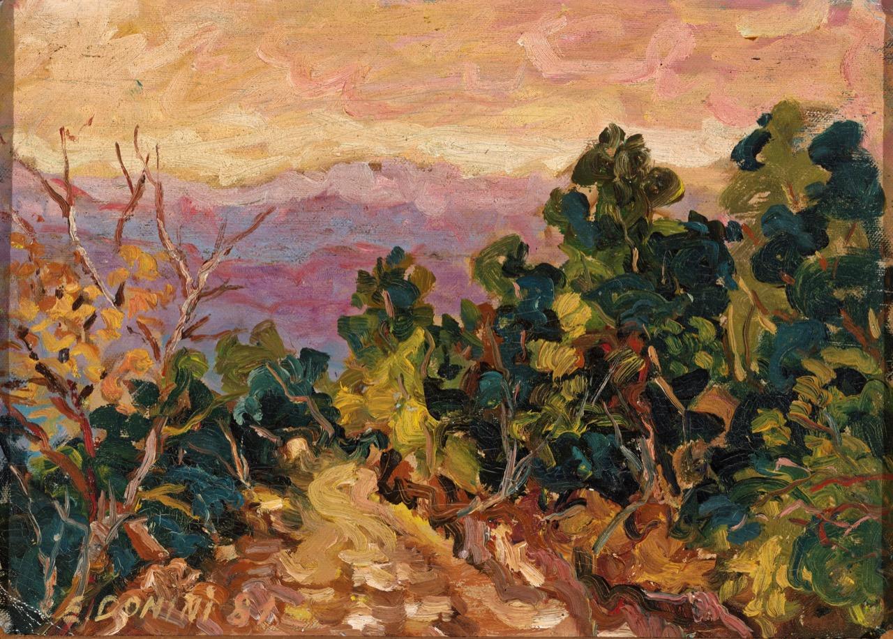Brione (Anni felici), 1981, olio su faesite, 38x28 cm